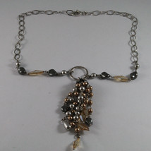 .925 SILVER RHODIUM NECKLACE WITH GRAY & BROWN PEARLS AND YELLOW CRYSTALS image 2