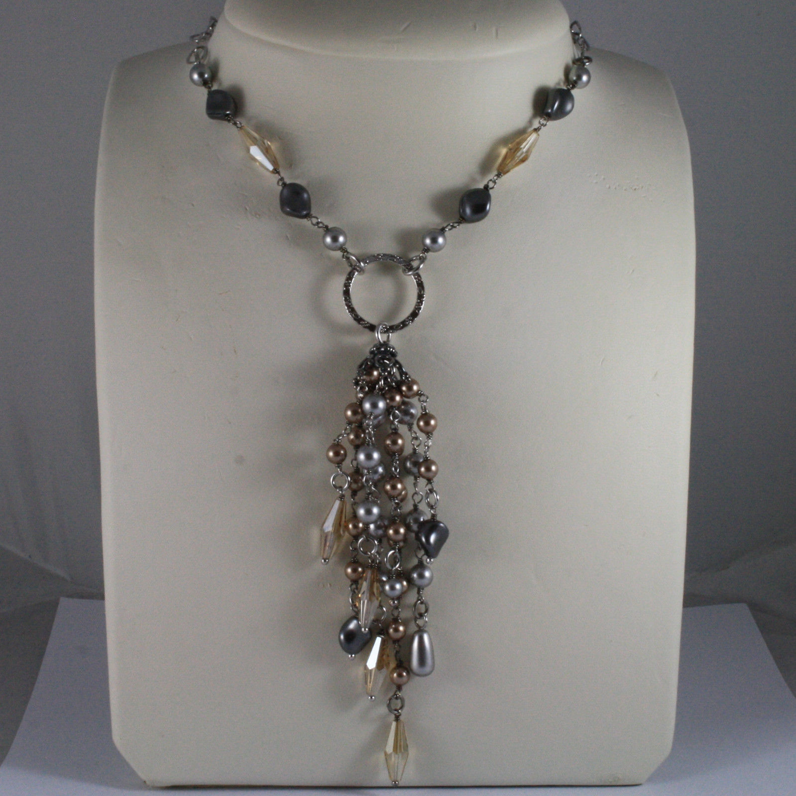 .925 SILVER RHODIUM NECKLACE WITH GRAY & BROWN PEARLS AND YELLOW CRYSTALS