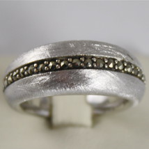 .925 RHODIUM SILVER RING BAND, MARCASITE, SATIN SCRATCHED BY NANIS MADE IN ITALY