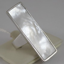 925 RHODIUM SILVER RECTANGULAR RING WITH MOTHER OF PEARL, NACRE image 2