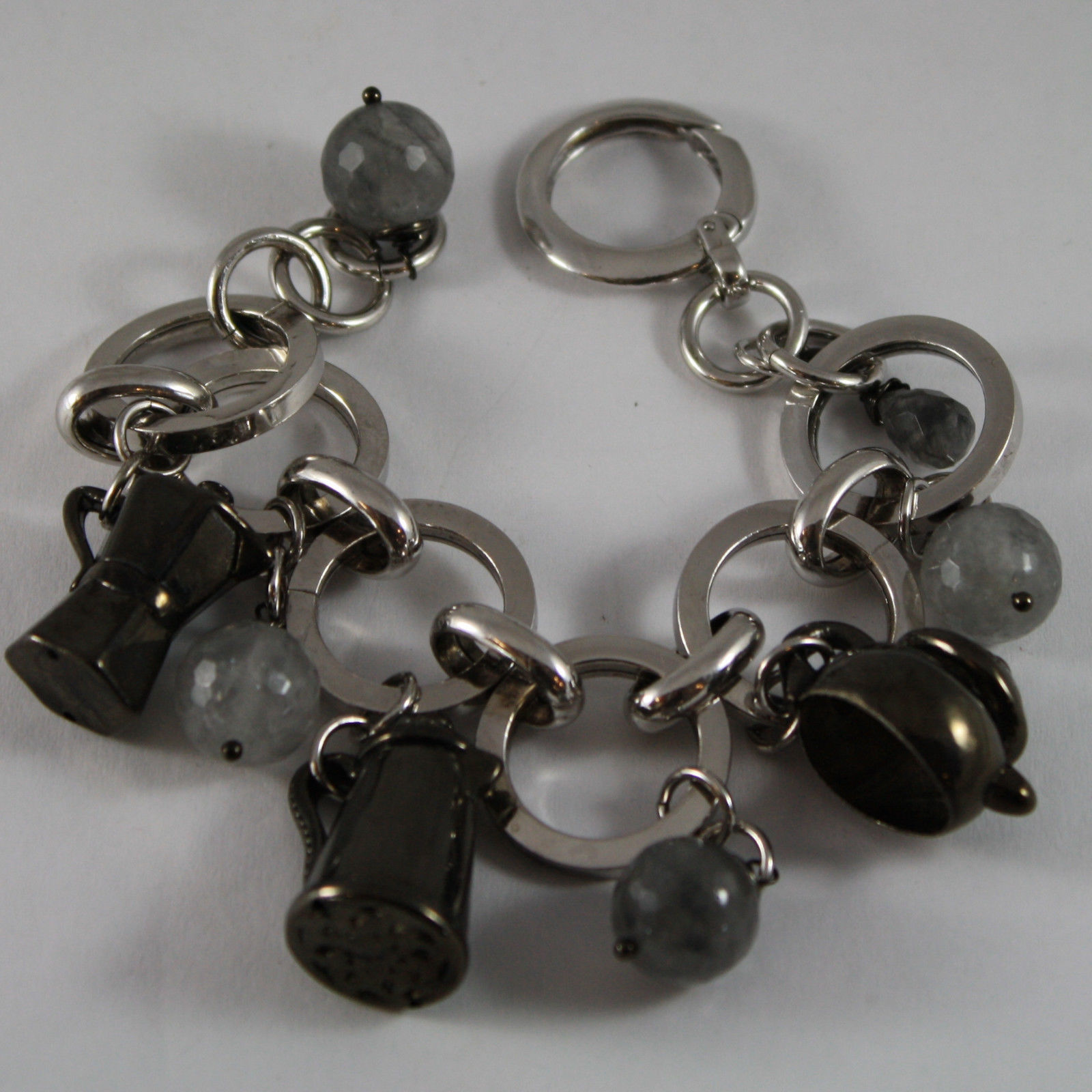 .925 RHODIUM SILVER BRACELET WITH GRAY QUARTZ AND BURNISH CHARMS