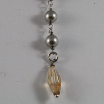 .925 SILVER RHODIUM NECKLACE WITH GRAY & BROWN PEARLS AND YELLOW CRYSTALS image 4