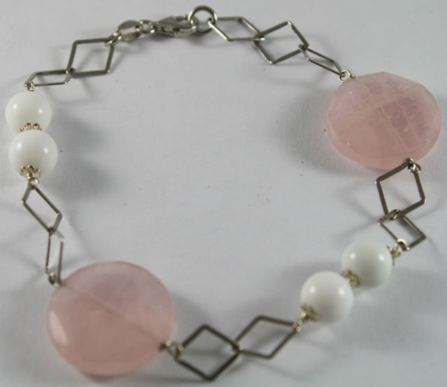 Bracelet in Sterling Silver 925 with Disc Rose Quartz and White Spheres Agate