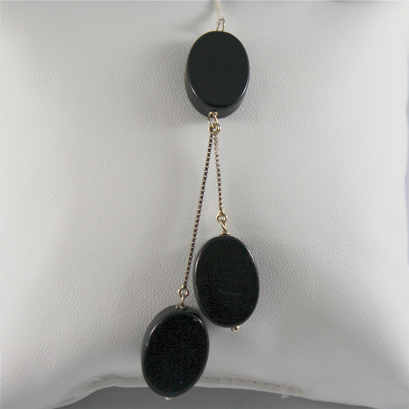 White Gold Pendant 750, 18k, three drops Oval Onyx Black, Venetian Chain