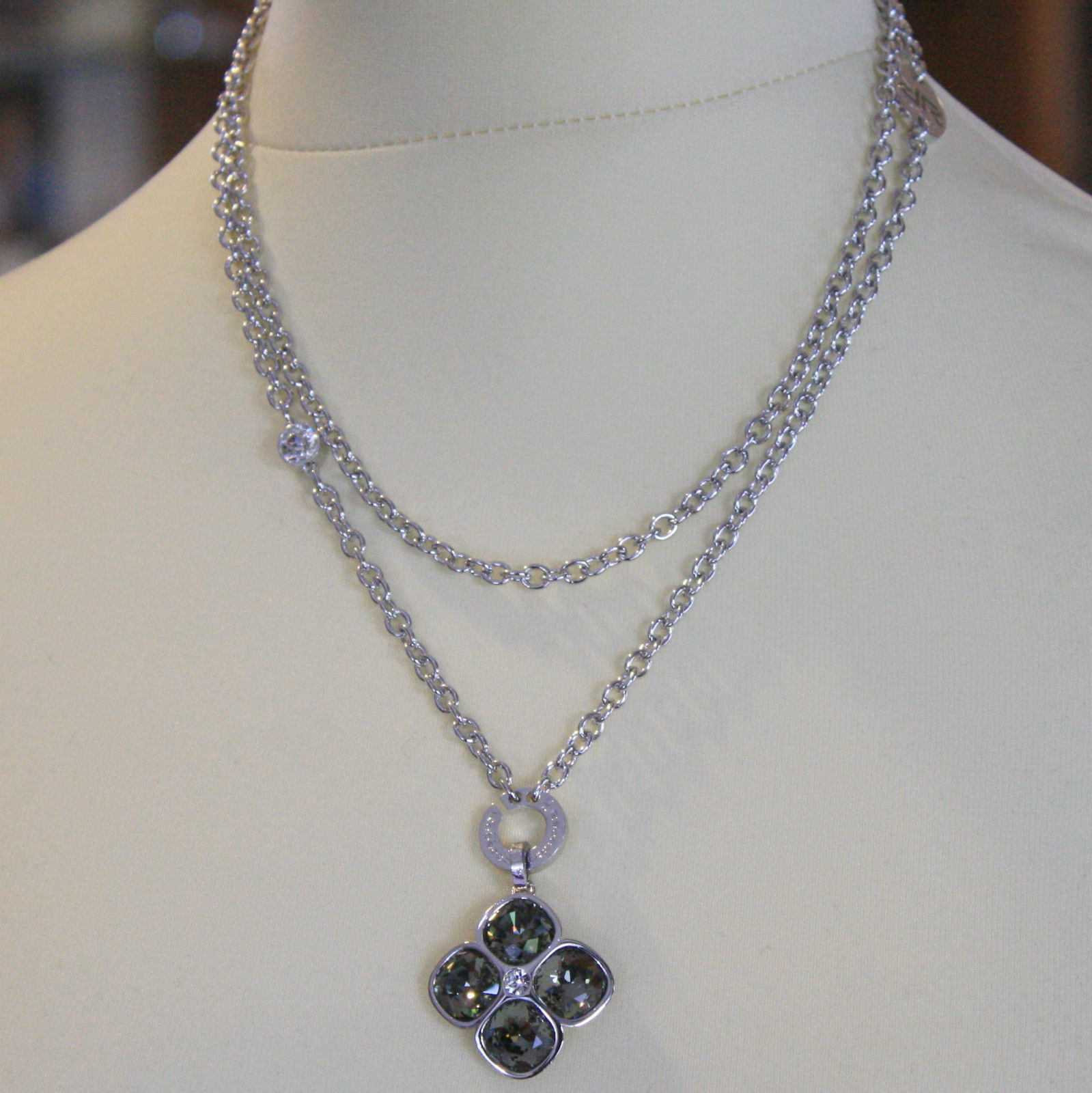LONG RHODIUM BRONZE REBECCA NECKLACE BIG FLOWER GRAY CRYSTAL CT 15 MADE IN ITALY
