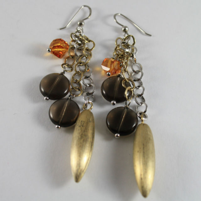 925 Silver Earrings Pendants With Drop Golden Yellow and Quartz Crystals