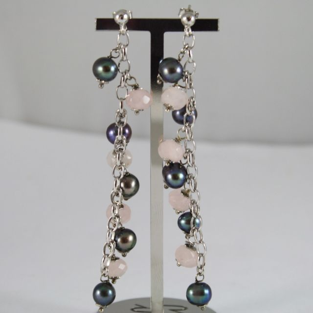 925 Silver Earrings Pendants With Gray Pearls and Rose Quartz Faceted