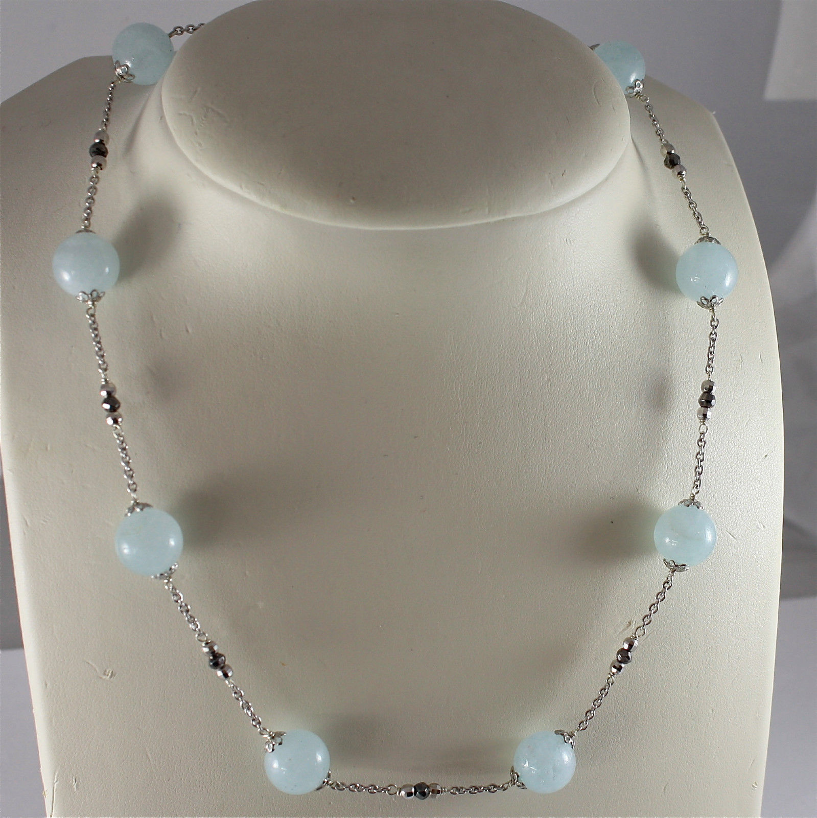 .925 RHODIUM SILVER NECKLACE, WITH NATURAL AQUAMARINE AND PYRITE.