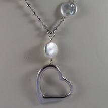 .925 SILVER RHODIUM NECKLACE WITH FLAT WHITE PEARLS, SILVER SPHERES AND HEART image 3