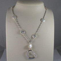 .925 SILVER RHODIUM NECKLACE WITH FLAT WHITE PEARLS, SILVER SPHERES AND HEART