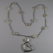 .925 SILVER RHODIUM NECKLACE WITH FLAT WHITE PEARLS, SILVER SPHERES AND HEART image 2