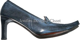 XENOS leather designer pumps Italy luxe blue po... - $71.99