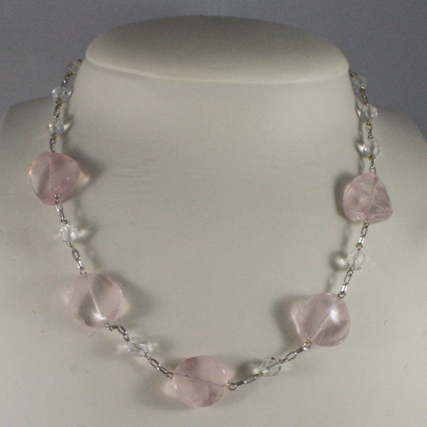 .925 SILVER RHODIUM NECKLACE WITH PINK AND TRANSPARENT CRYSTALS 16,73 IN