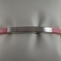 .925 RHODIUM SILVER RIGID BRACELET WITH PINK RUBBER AND PLATE image 2