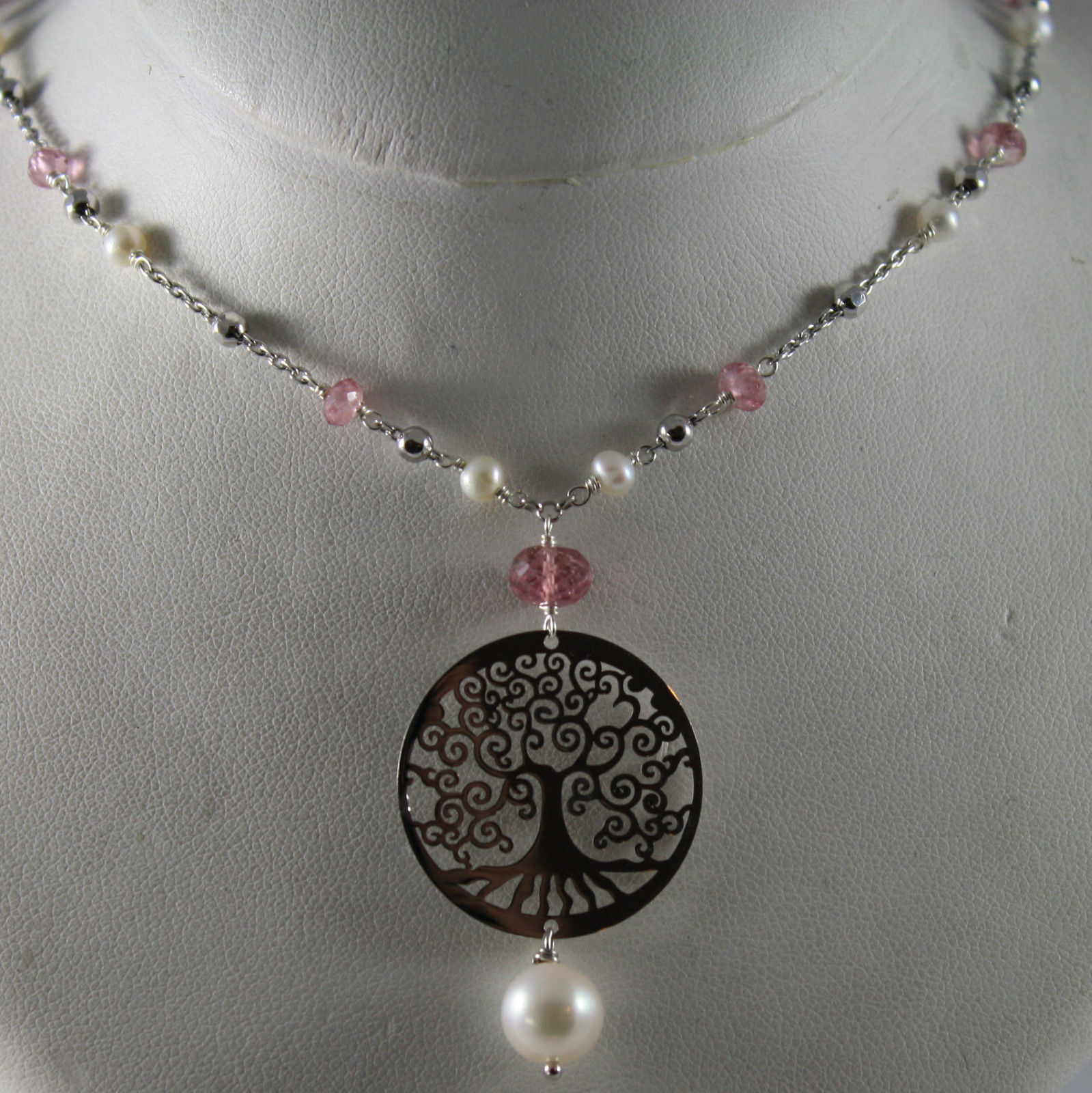 .925 SILVER RHODIUM NECKLACE WITH PINK TOURMALINE, FW PEARLS AND TREE OF LIFE