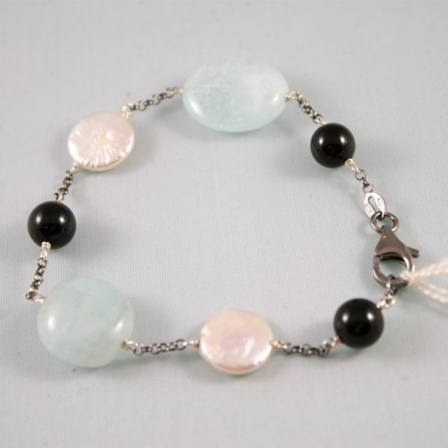 SOLID 925 STERLING SILVER BRACELET WITH AQUAMARINE ONYX AND PEARLS