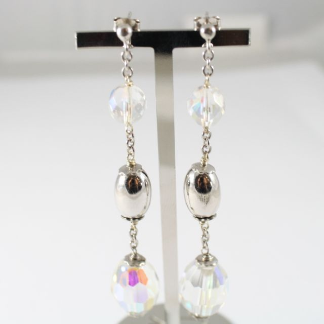 925 Silver Earrings Pendants Faceted Transparent Crystals