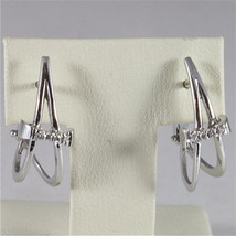 18K WHITE GOLD DIAMONDS BOW PENDANT EARRINGS, CT0.09, COLOR H, MADE IN ITALY