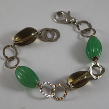 .925 RHODIUM SILVER  BRACELET WITH GREEN AGATE AND QUARTZ image 1