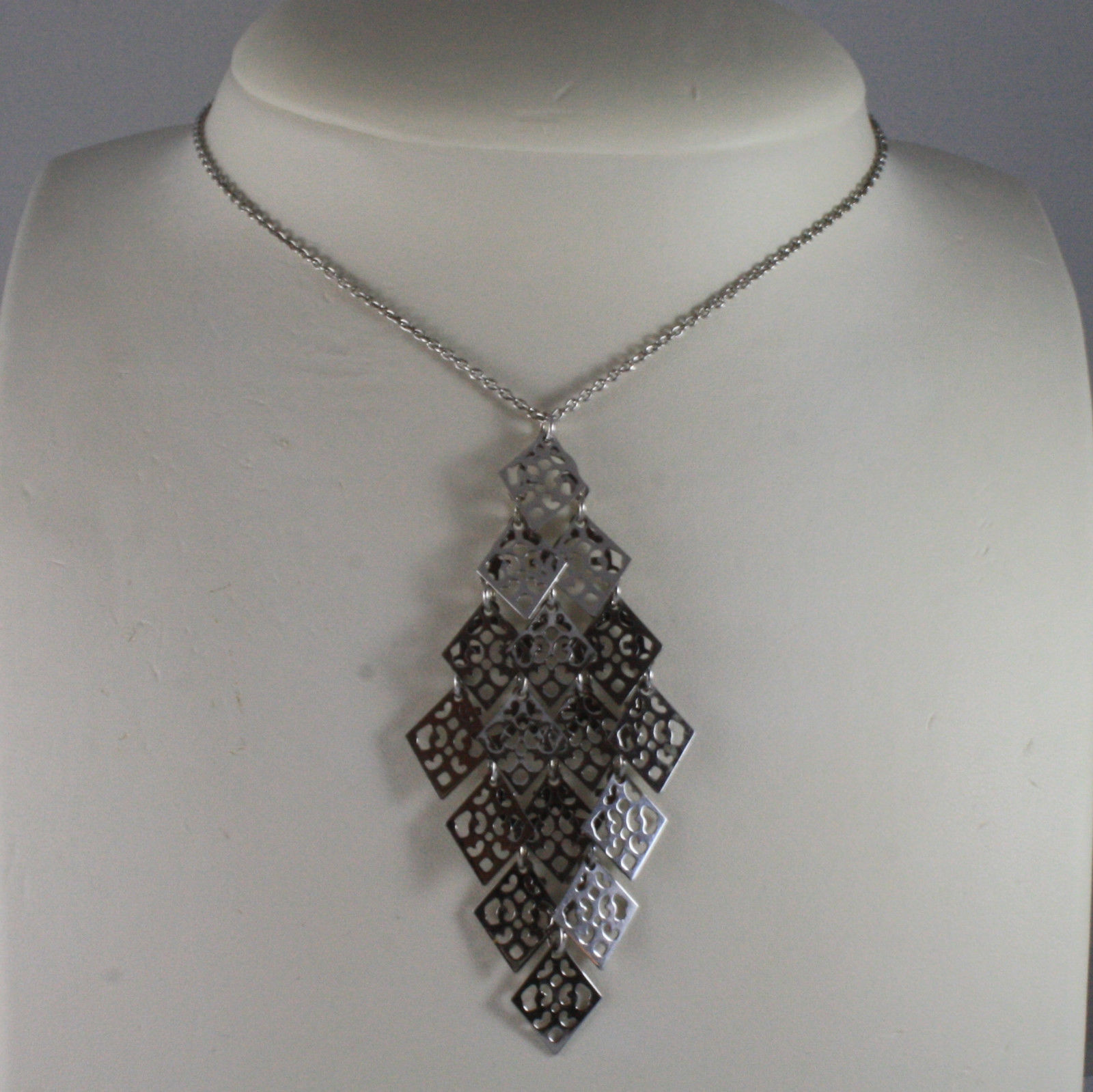 .925 SILVER RHODIUM NECKLACE WITH PENDANT WITH PERFORATED RHOMBUS 16,54 IN