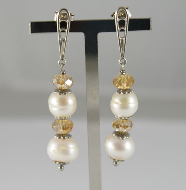 925 Silver Earrings Pendants with White Pearls and Crystals Yellow