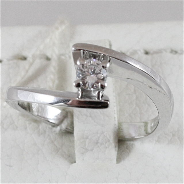 18K 750 WHITE GOLD SOLITAIRE RING WITH DIAMOND CT 0.17 COLOR H VVS MADE IN ITALY