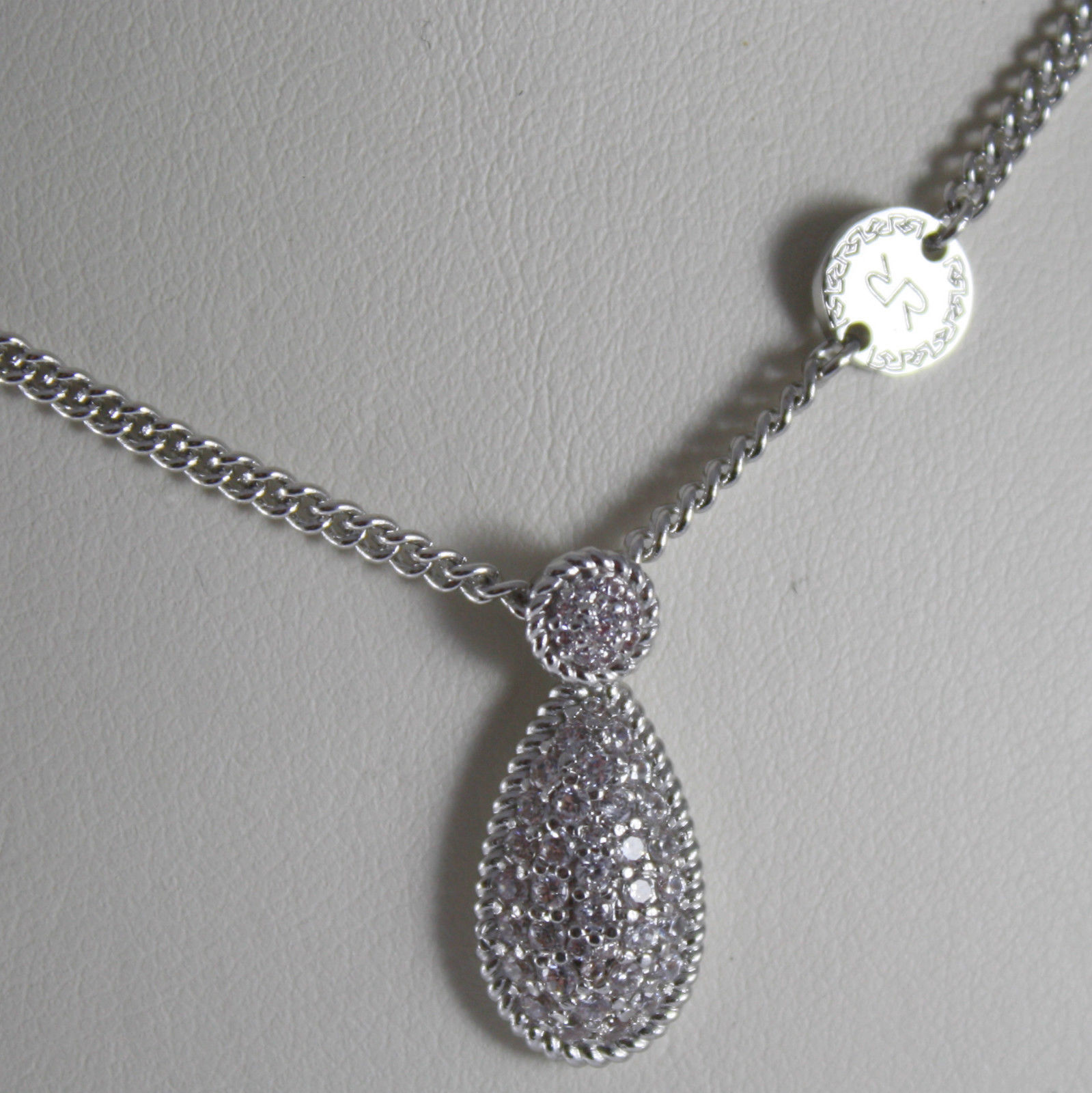 RHODIUM BRONZE NECKLACE, DROP B14KBB07 CUBIC ZIRCONIA BY REBECCA MADE IN ITALY