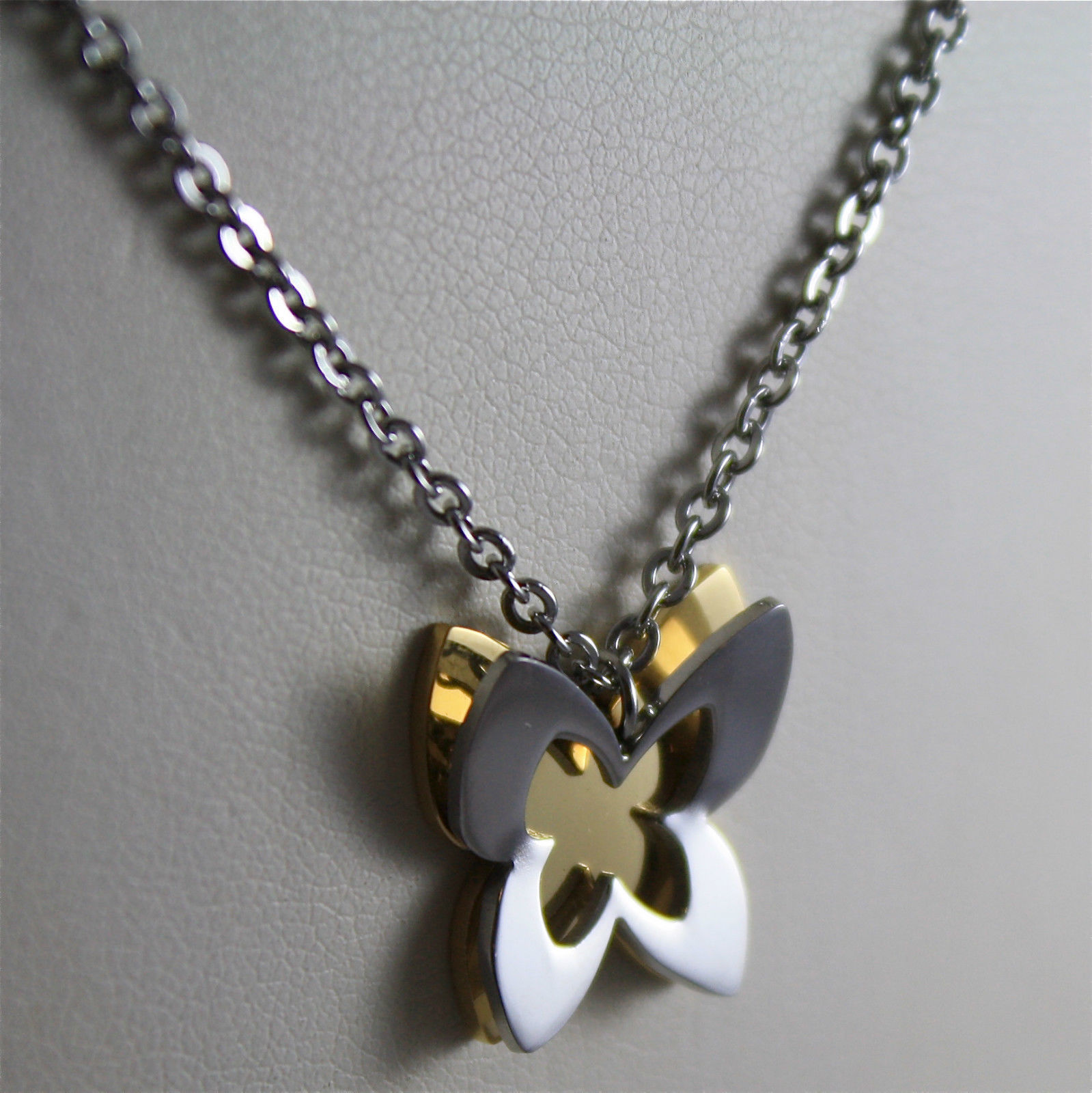 S'AGAPO' NECKLACE, 316L STEEL, BUTTERFLY, YELLOW GOLD PLATED.