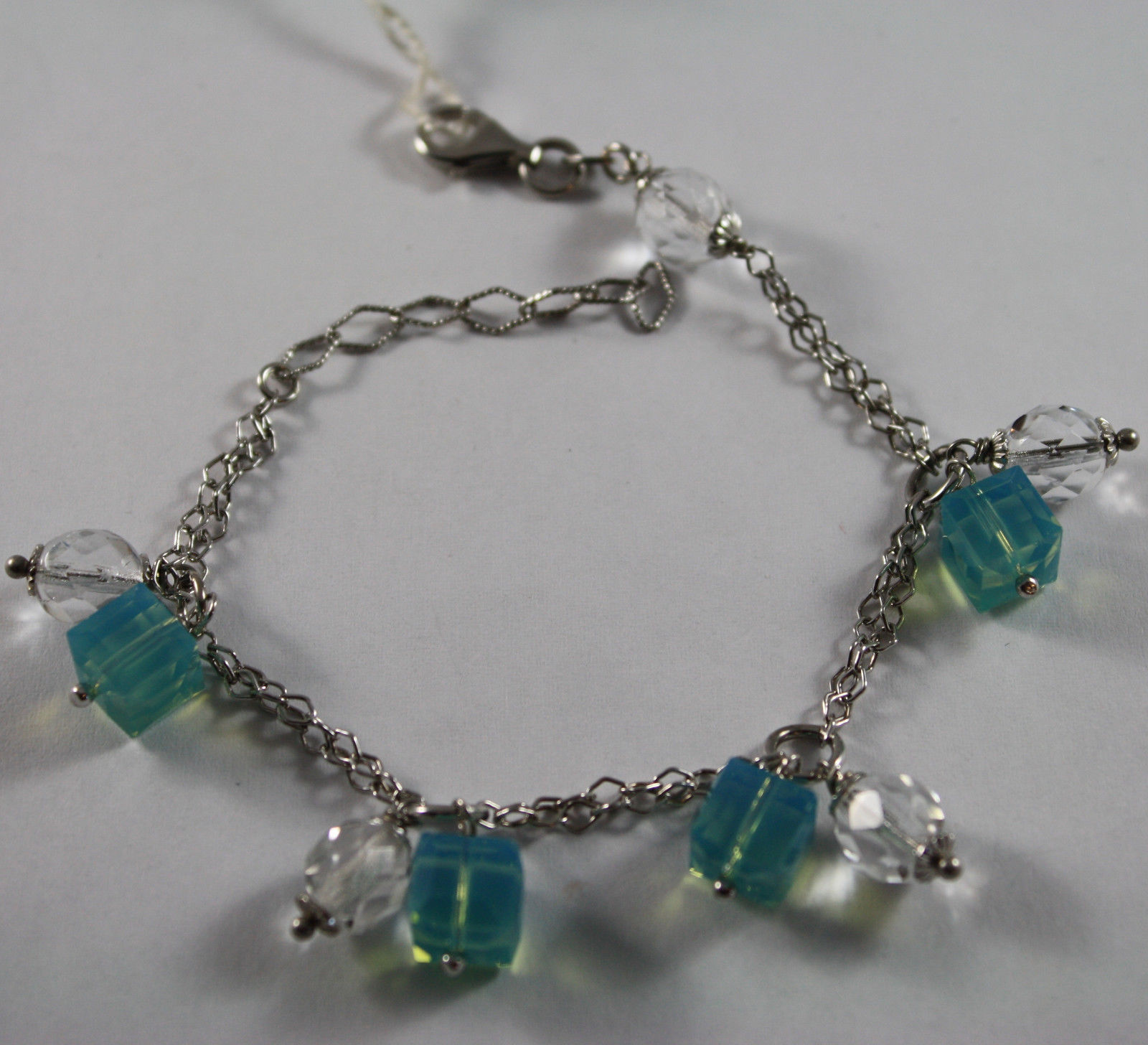 .925 RHODIUM SILVER BRACELET WITH BLUE AND TRANSPARENT CRISTAL