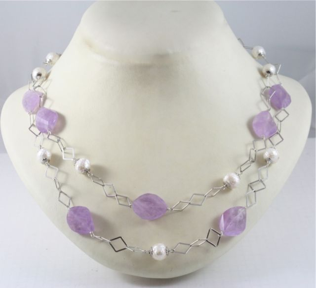 .925 RHODIUM SILVER DOUBLE NECKLACE WITH PEARL AND AMETHYST