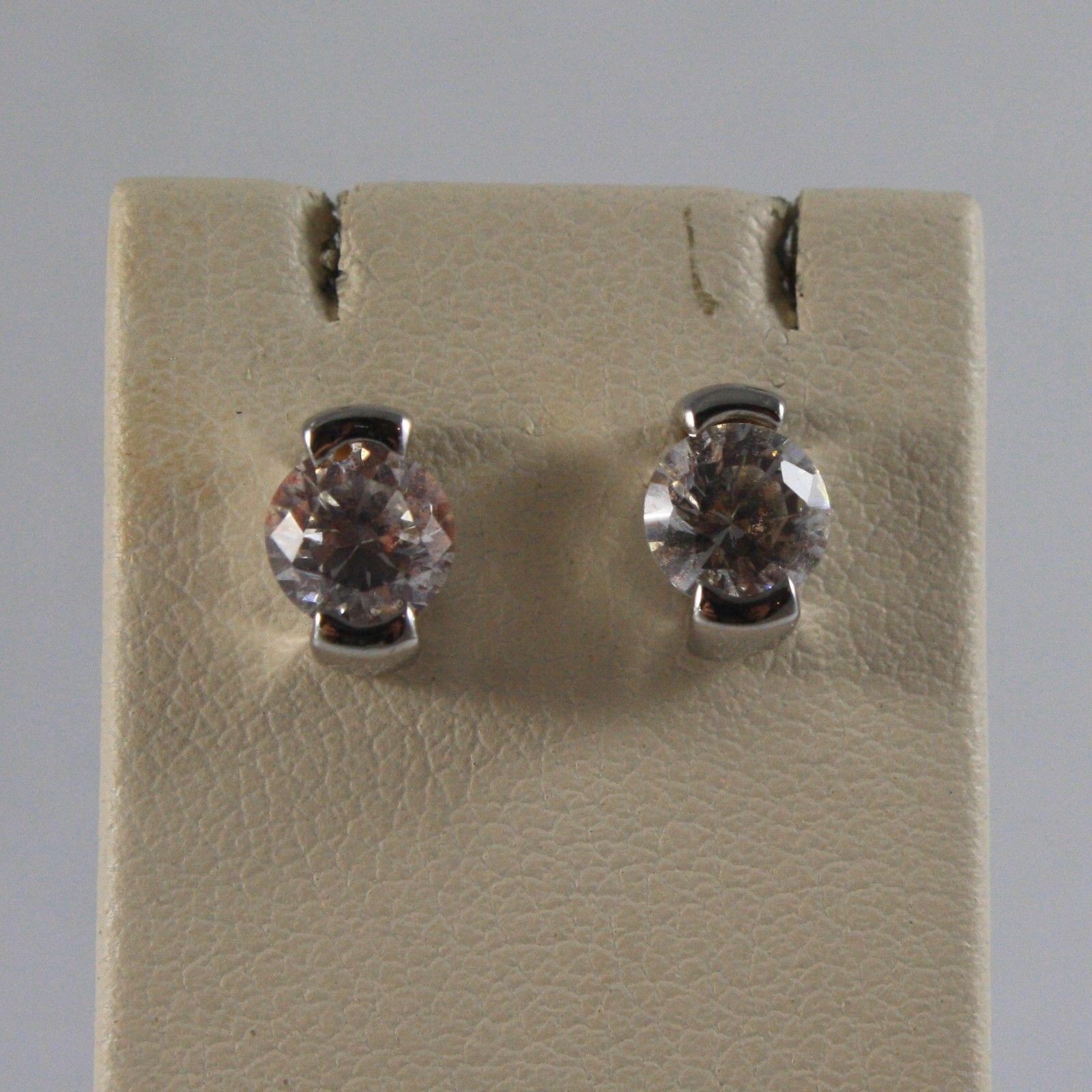 Light Fixture Earrings in White Gold 750 18 CT. Zirconia, 7 MM LONG