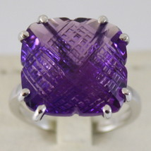 RHODIUM SOLID 18K WHITE GOLD RING WITH AMETHYST ct13.5 AMAZING CUT MADE IN ITALY