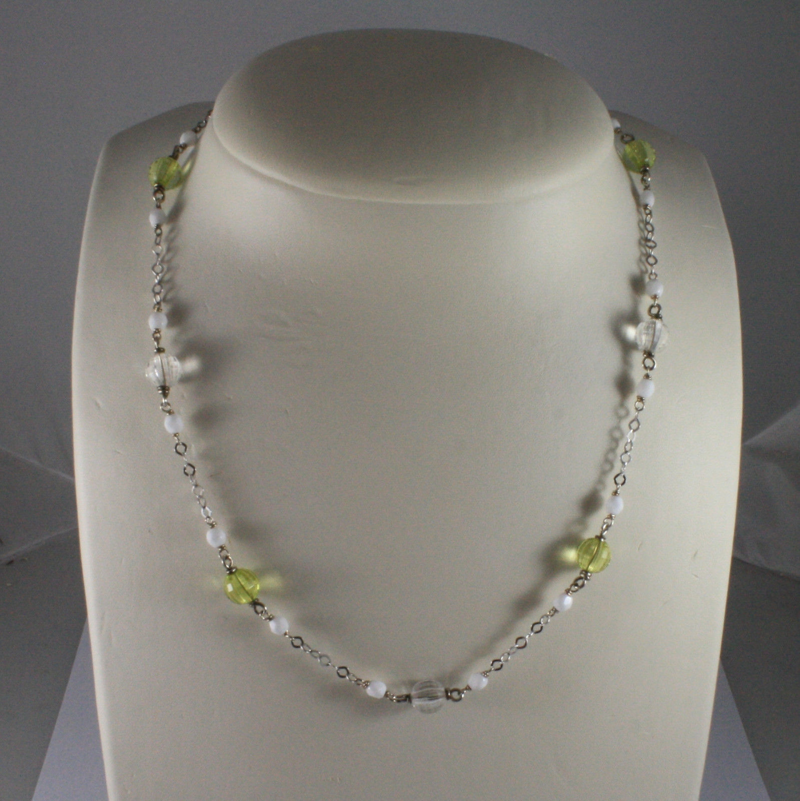 .925 SILVER RHODIUM NECKLACE WITH WHITE AGATE, GREEN AND TRANSPARENT CRYSTALS