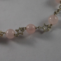 .925 RHODIUM SILVER BRACELET WITH PINK QUARTZ AND SMALL STARS image 2