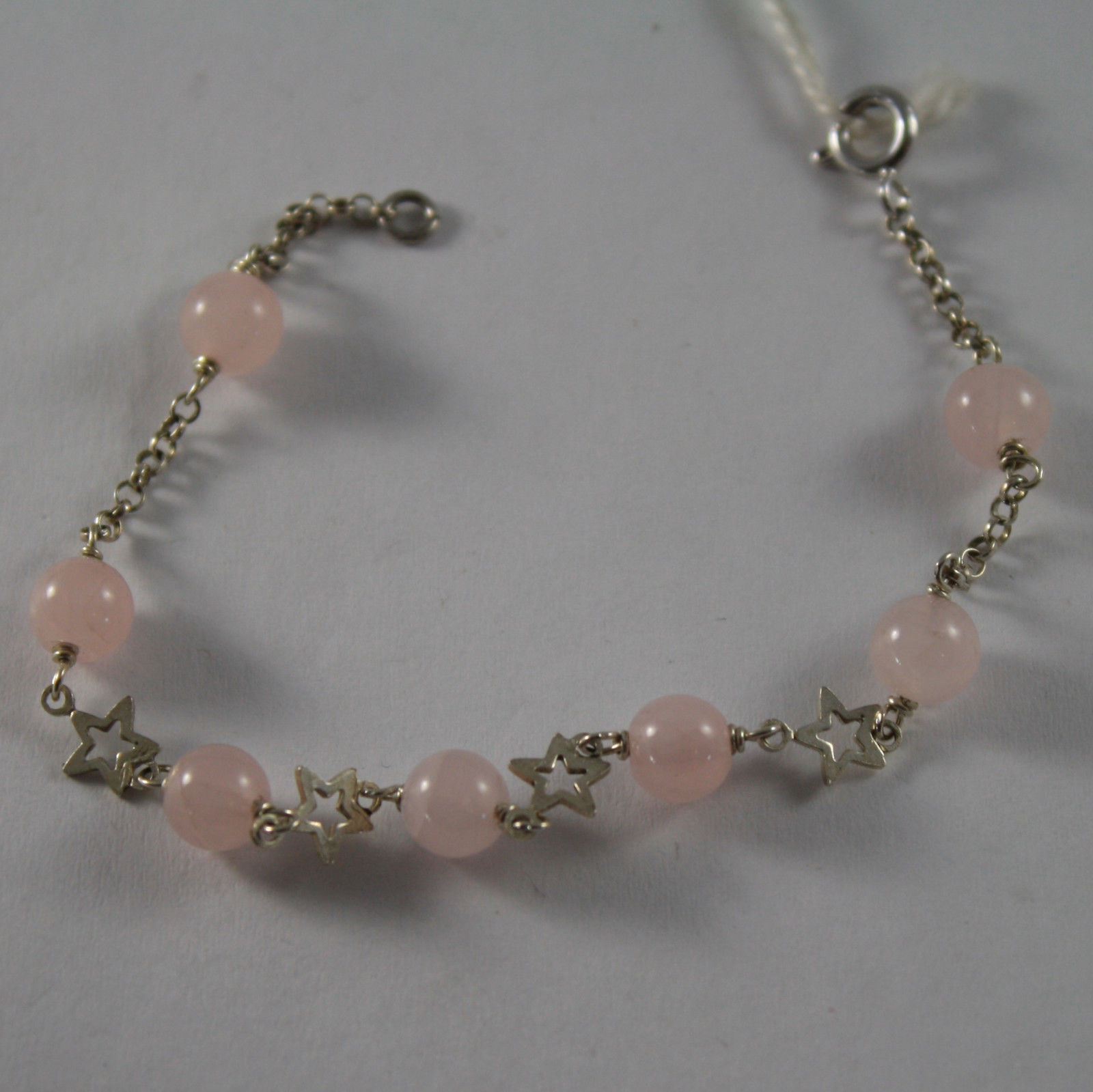.925 RHODIUM SILVER BRACELET WITH PINK QUARTZ AND SMALL STARS