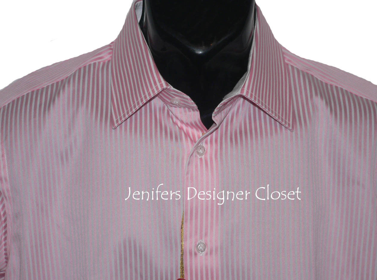 Nwt robert graham size 15 5 mens pink white striped dress for Size 15 dress shirt