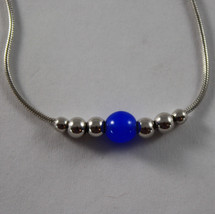 .925 RHODIUM SILVER BRACELET WITH BLUE CRISTAL image 2