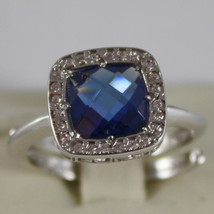 RHODIUM BRONZE RING WITH SQUARE BLUE QUARTZ B14ABI32 BY REBECCA, MADE IN ITALY