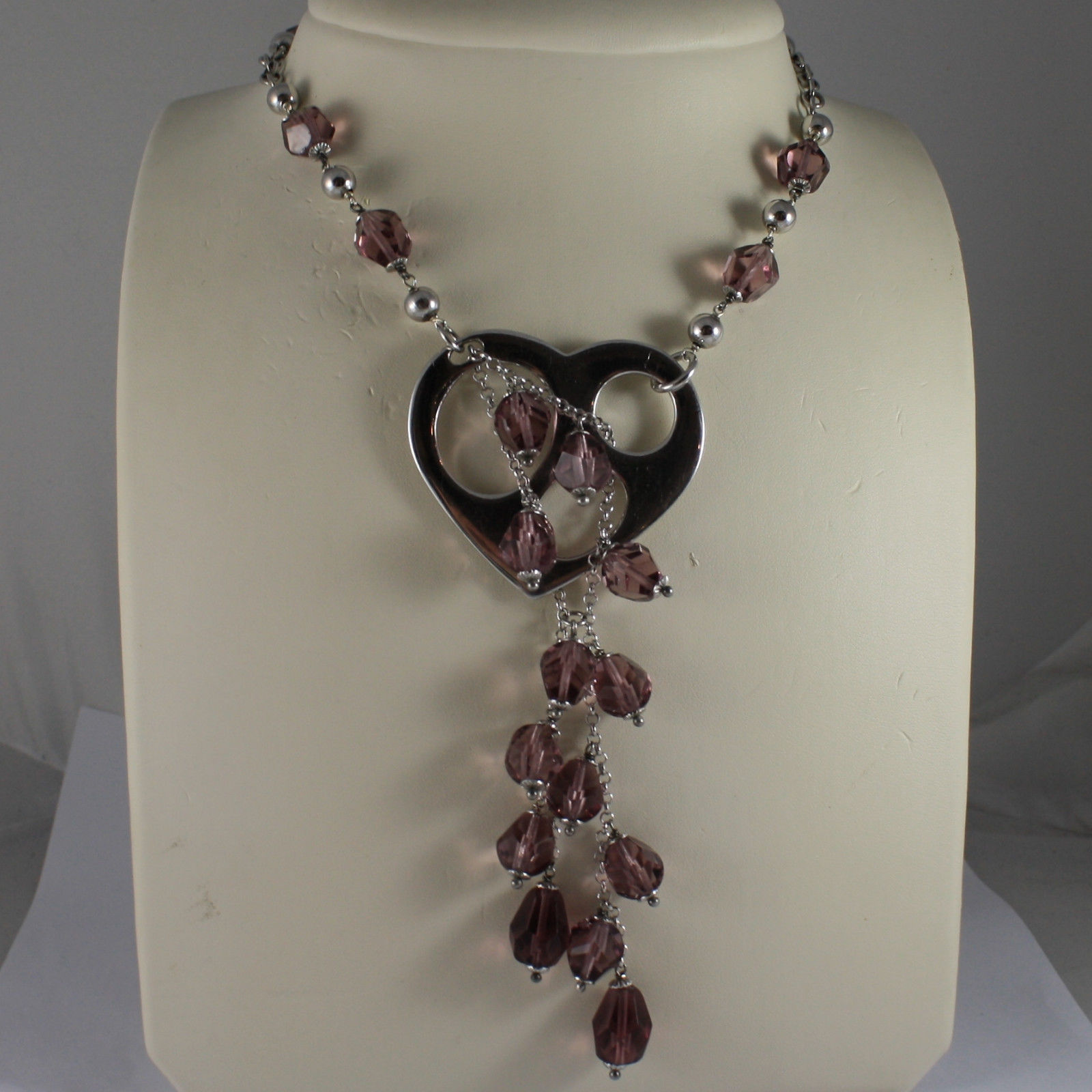 .925 SILVER RHODIUM NECKLACE WITH PURPLE CRISTALS AND HEART PENDANT
