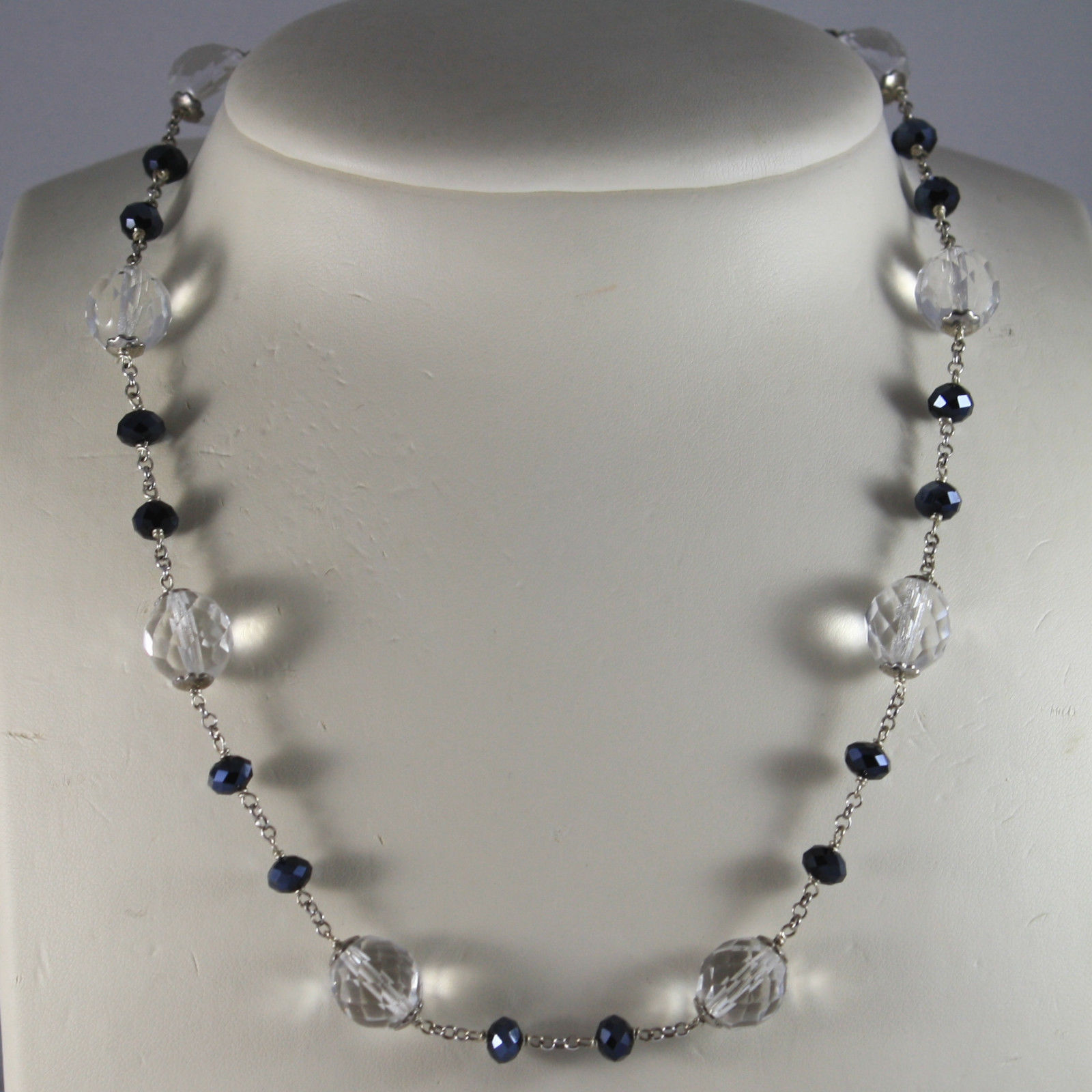 .925 SILVER RHODIUM NECKLACE WITH TRANSPARENT AND BLACK CRYSTALS