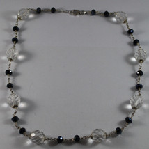.925 SILVER RHODIUM NECKLACE WITH TRANSPARENT AND BLACK CRYSTALS image 2