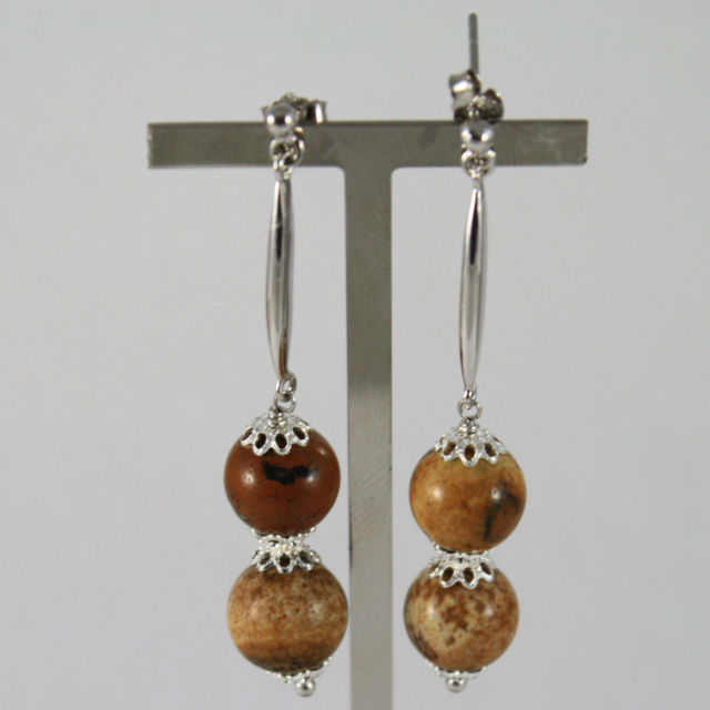 925 Silver Earrings Pendants with Stake and spheres of jasper