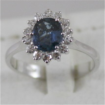18K WHITE GOLD 750 RING WITH DIAMONDS AND BLUE SAPPHIRE MADE IN ITALY