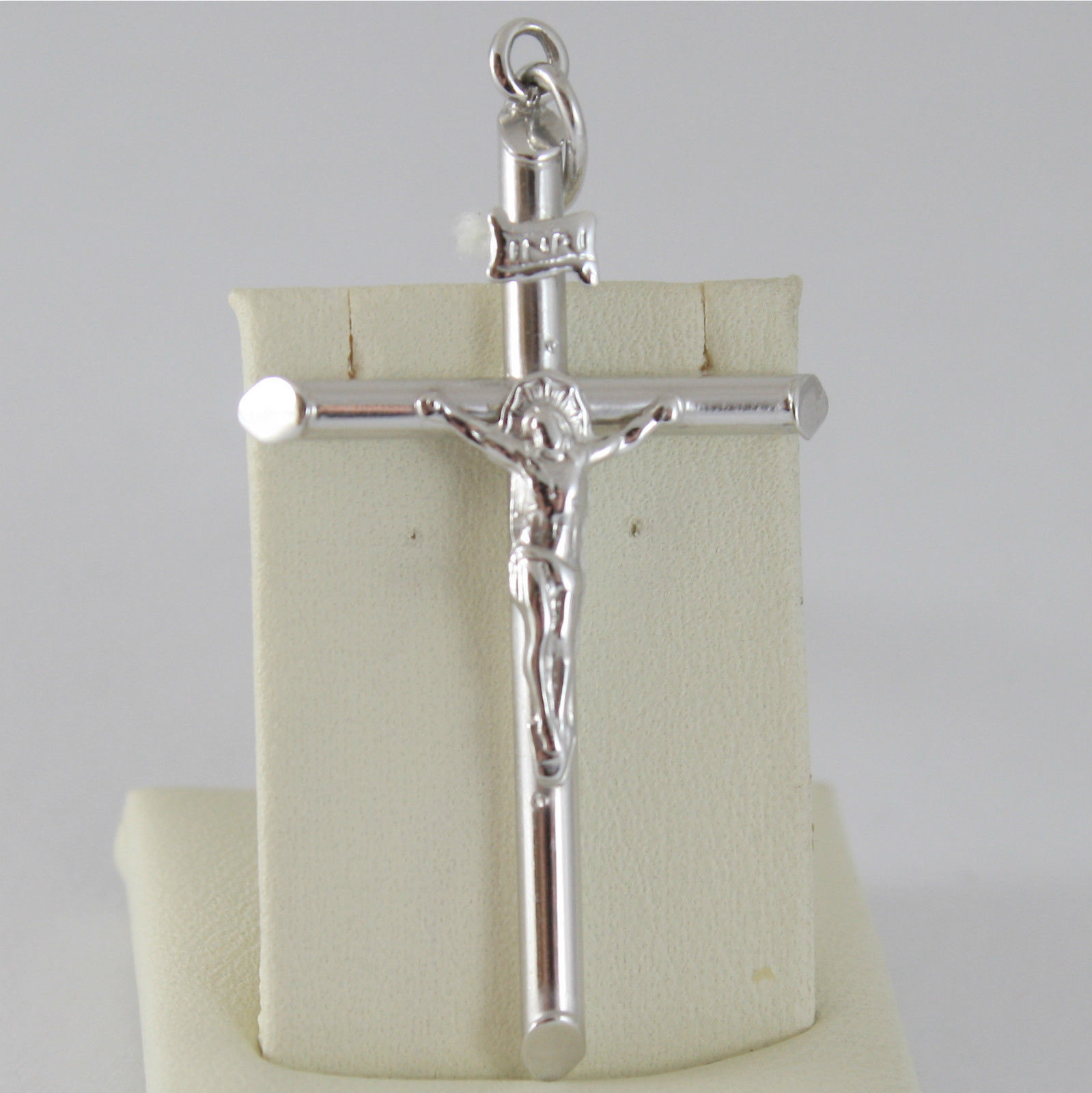 SOLID 18K RHODIUM WHITE GOLD CROSS, JESUS, PENDANT, TUBE, MADE IN ITALY