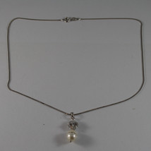 .925 RHODIUM NECKLACE WITH WHITE PEARL WITH ZIRCONS AND CENTRAL CRISTAL image 2