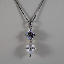 .925 RHODIUM NECKLACE WITH WHITE PEARL WITH ZIRCONS AND CENTRAL CRISTAL image 3