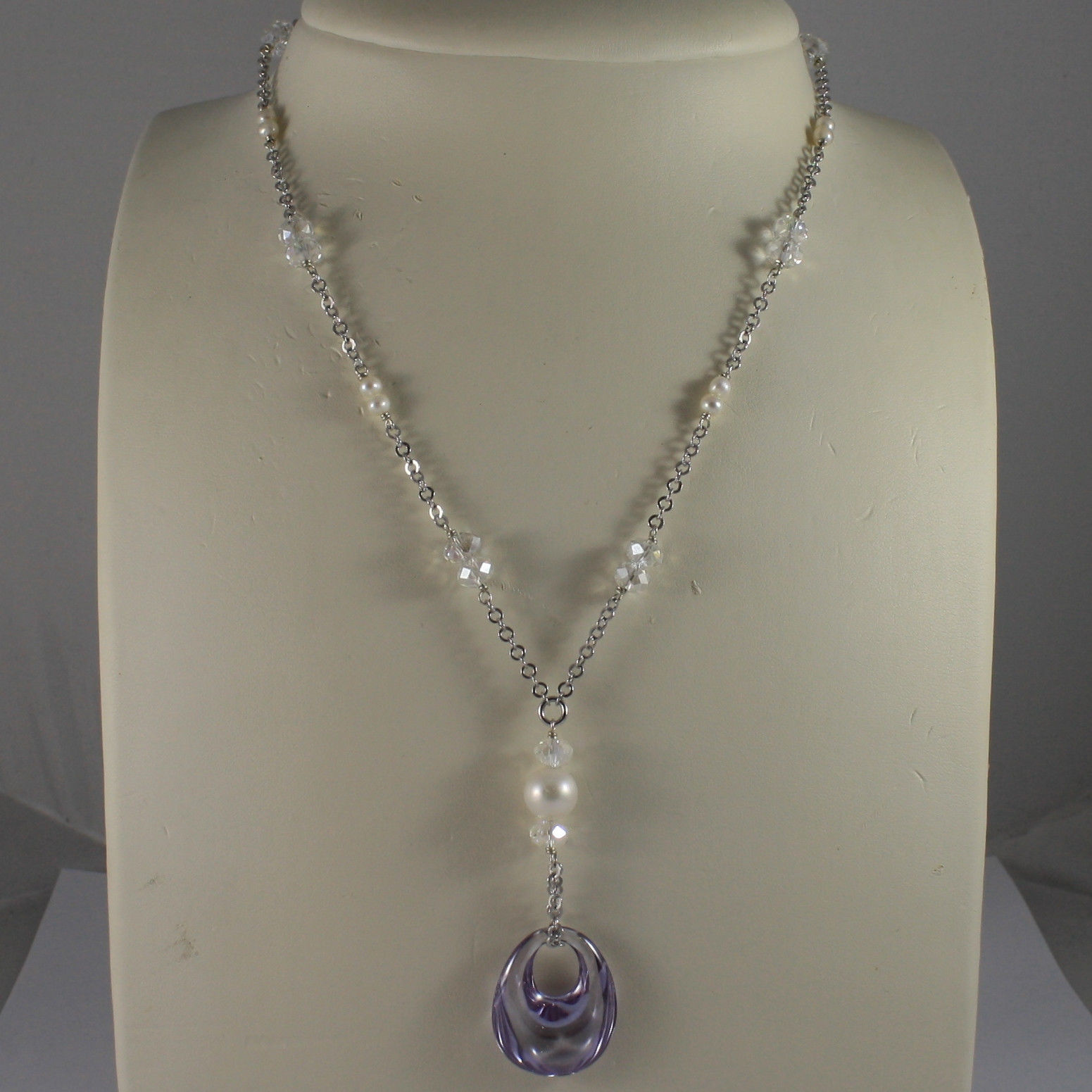 .925 SILVER RHODIUM NECKLACE WITH TRANSPARENT CRYSTALS, PEARLS AND DROP ZIRCON