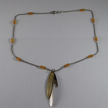 .925 RHODIUM SILVER NECKLACE WITH YELLOW CRYSTALS AND GOLDEN LEAVES image 2