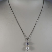 .925 RHODIUM NECKLACE WITH WHITE PEARL WITH ZIRCONS AND CENTRAL CRISTAL image 1