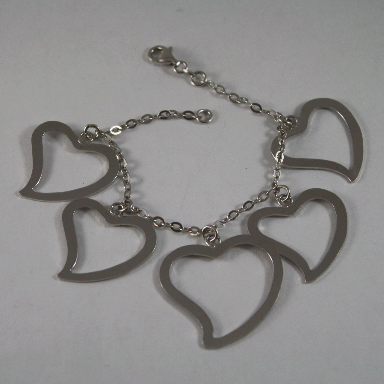 .925 RHODIUM SILVER BRACELET WITH GLOSSY HEARTS PENDANT